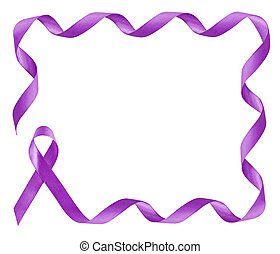 Pancreatic Cancer Awareness Purple Ribbon frame with copy space