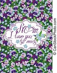 pancy, bloemen, liefde, kaart, veel, tekst, frame, love...