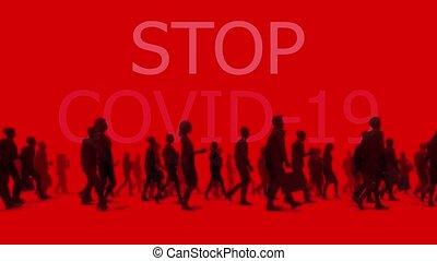 pandémie, séjour, covid-19, résumé, maison, concept