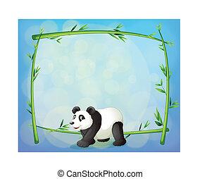 panda, albero bambù, indietro, incorniciato