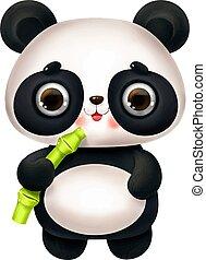panda, alfabeto, cartone animato, bambù, carino, lettera