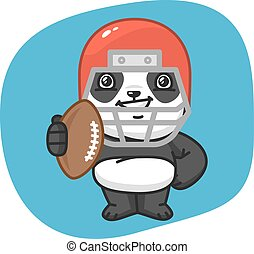 Panda American Football Player Holding Ball