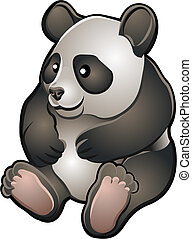 panda, amigável, ilustração, cute, vetorial