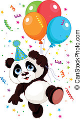 Funny panda flying with balloons