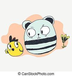 Panda and chicken cartoon character