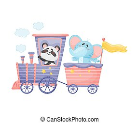 Panda and elephant ride a train. Vector illustration on a white background.