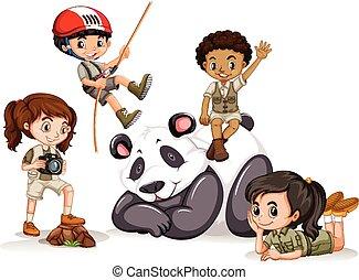 Panda and many children illustration