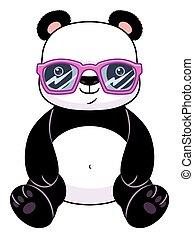 panda, anteojos
