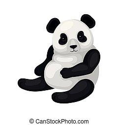 panda., appartamento, seduta, vettore, disegno, bear., animale, nero, bianco, adorabile, bambù, esotico