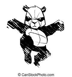 panda, artes, bosquejo, marcial