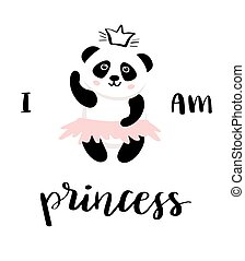 panda ballerina vector for girl print design.