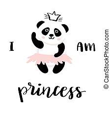 panda ballerina vector for girl print design.