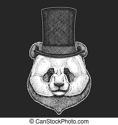 Panda, bamboo bear. Top hat, cylinder. Hipster animal, gentleman. Classic headdress. Print for children t-shirt, kids clothing.