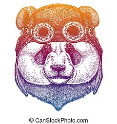 Panda, bamboo bear wearing vintage aviator leather helmet. Image in retro style. Flying club or motorcycle biker emblem. Vector illustration, print for tee shirt, badge logo patch
