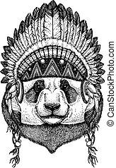 Panda, bamboo bear. Wild animal wearing inidan headdress...