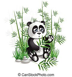 panda bamboo - Panda sitting in bamboo branches and holding...