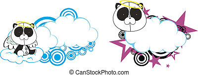 panda bear angel kid cartoon copysa