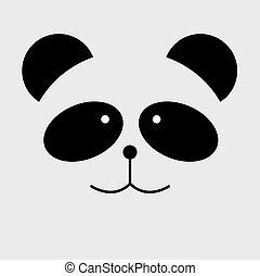 Panda Bear Animal Face Vector Illustration