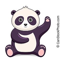 Panda bear animal standing on a white background