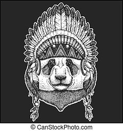 Panda bear Bamboo bear Cool animal wearing native american indian headdress with feathers Boho chic style Hand drawn image for tattoo, emblem, badge, logo, patch