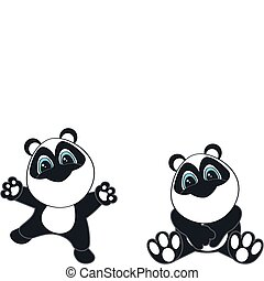 panda bear  cartoon set