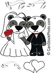panda bear cartoon wedding set