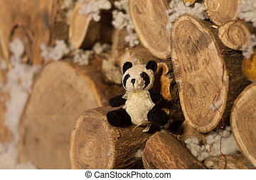 panda bear Christmas tree toy wodden detalis blue