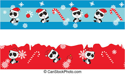 panda bear  claus cartoon banner