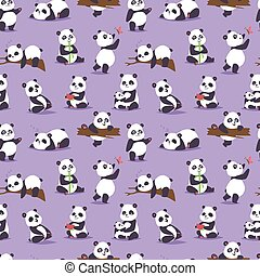 Panda bear cude character different pose vector seamless...