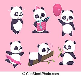 Panda. Bear cute funny animal character in forest vector cartoon collection