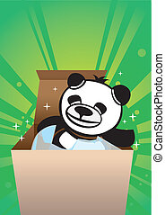 panda bear gift box - Cute panda bear inside a gift box.