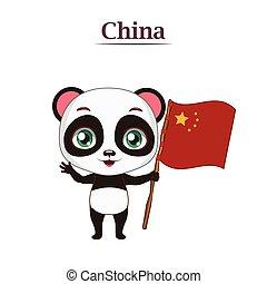 Panda bear holding the Chinese flag