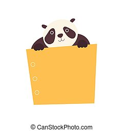 Panda Bear Holding Yellow Empty Banner, Cute Cartoon Animal with Blank Sign Board Vector Illustration