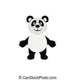 Panda bear icon, flat style