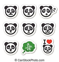 Panda bear icons set - happy, sad,