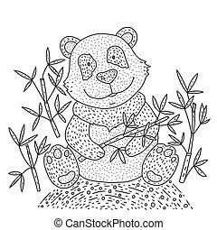Panda bear Illustration vector with bamboo. Hand drawn cartoon card.