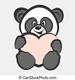 Panda bear toy with heart