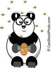 panda bear with beehive  on white