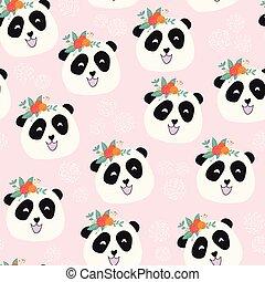 Panda bear with flowers seamless vector pattern