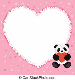 Panda bear with red heart.