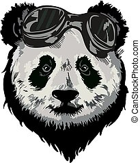 panda - Black and white vector sketch of a Giant Panda's...