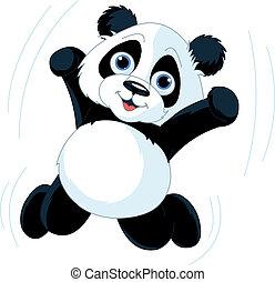 panda, boldog