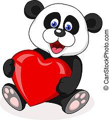 panda, caricatura, com, coração vermelho