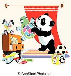 panda, caricatura, juguetes