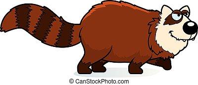 panda, caricatura, rojo, acecho