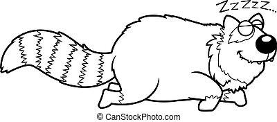 panda, caricatura, rojo, sueño
