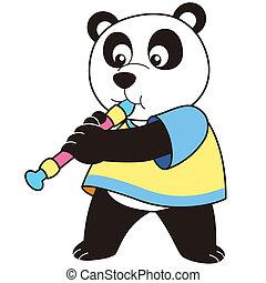 panda, caricatura, tocando, oboe