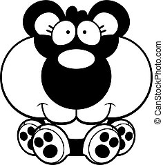 panda, cartone animato, cucciolo, seduta
