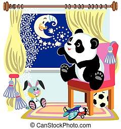 panda, cartone animato, luna