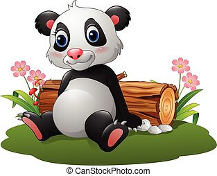 panda, cartone animato, seduta